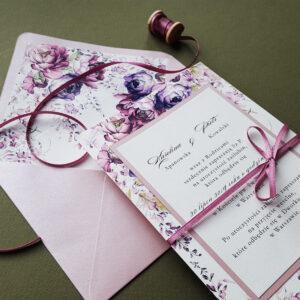 kwiatowe zaproszenia ślubne PEONY