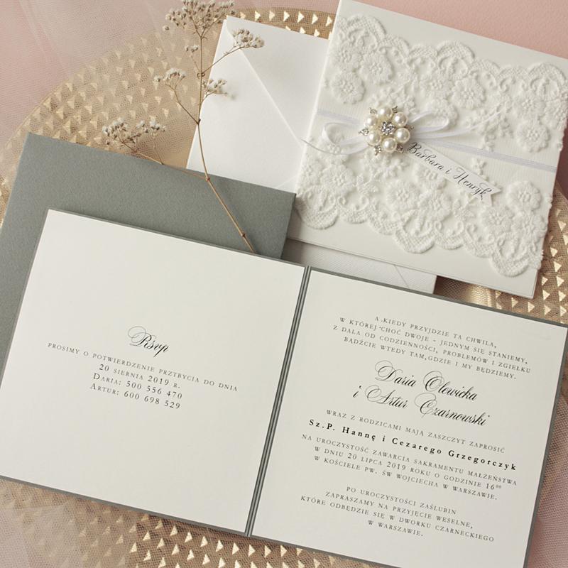 koronkowe zaproszenia ślubne