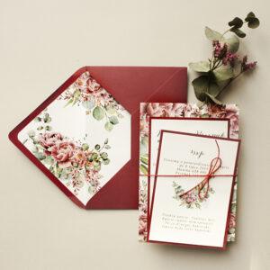 bordowe zaproszenia ślubne