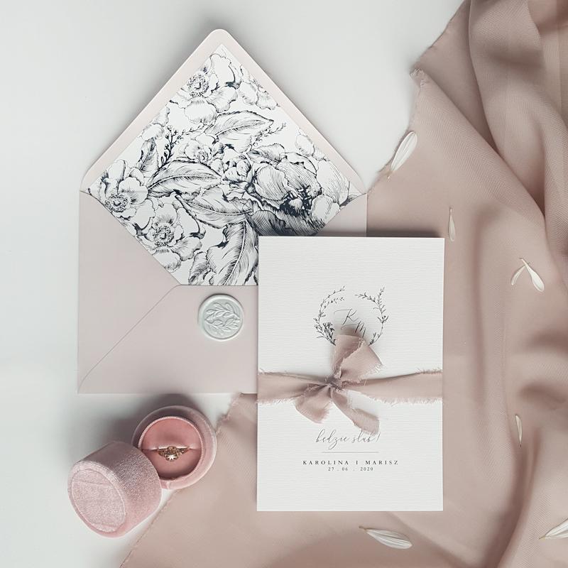zaproszenia ślubne dusty pink