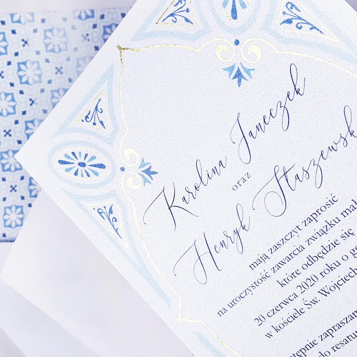 zaproszenia slubne niebieskie detal