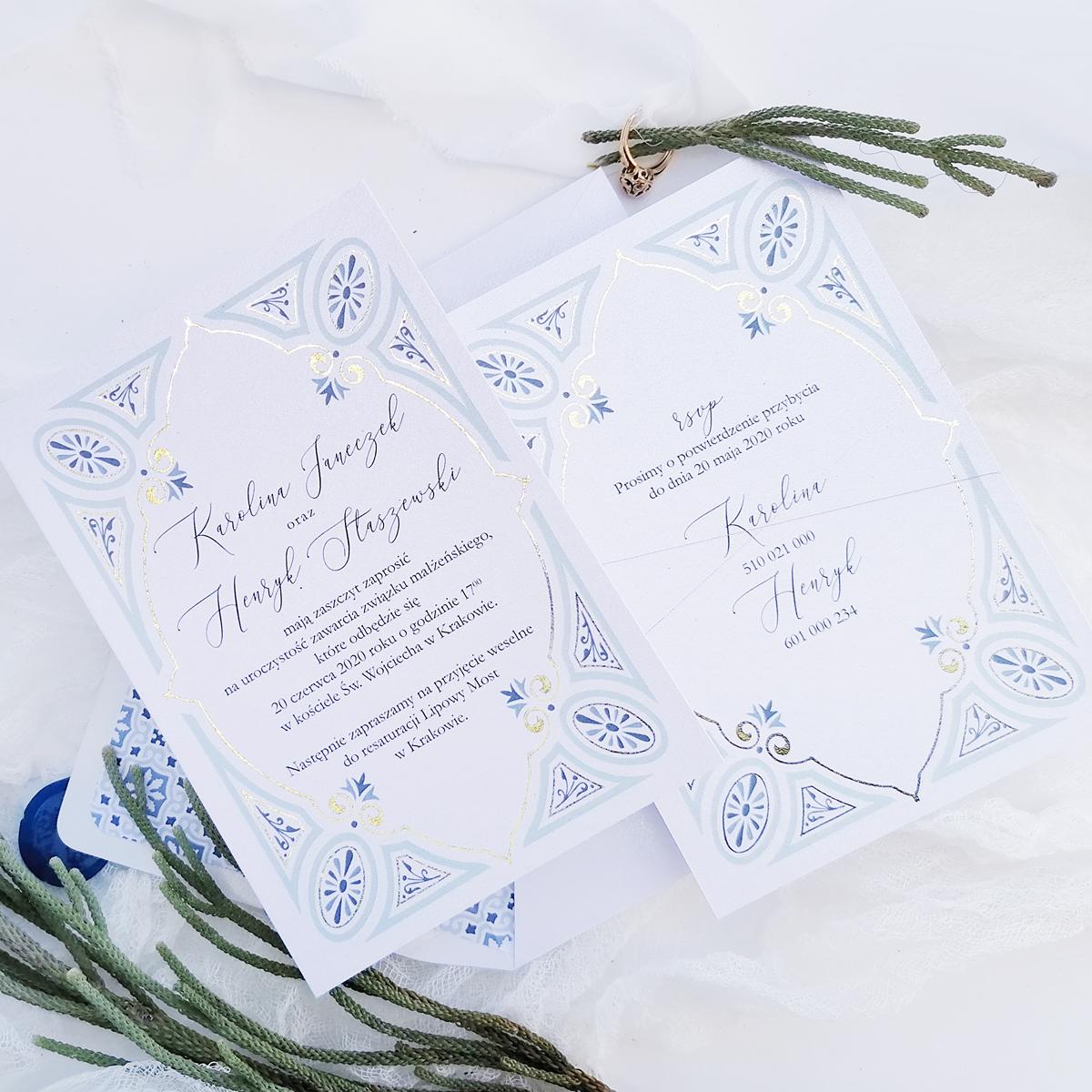 zaproszenia ślubne niebieskie ORIENT BLUE