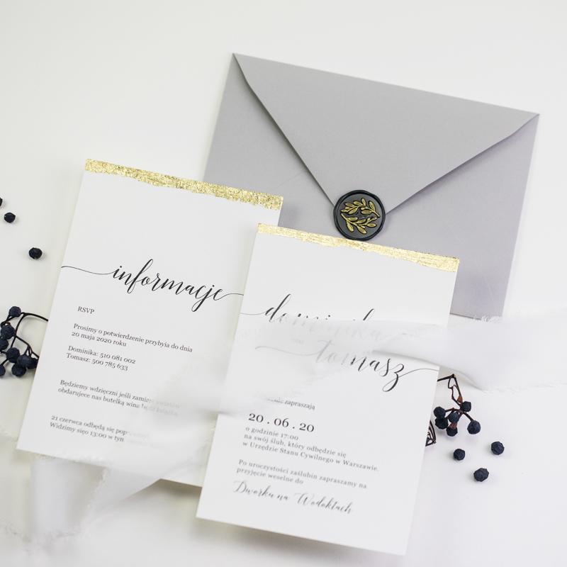ręcznie złocone zaproszenia ślubne