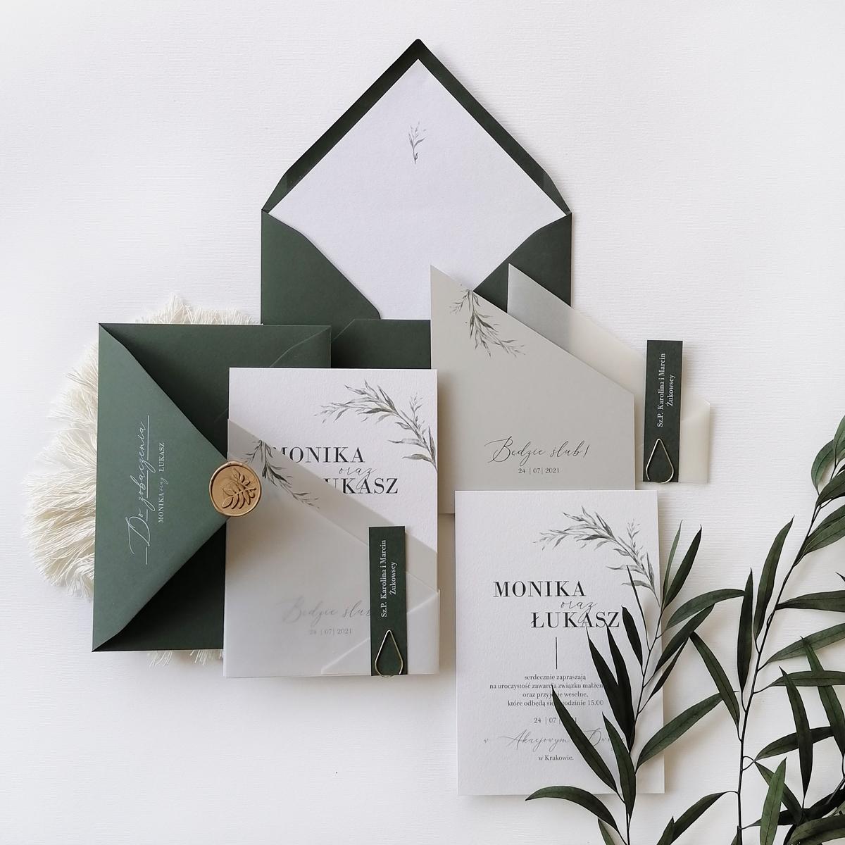 zaproszenia ślubne zielone liście
