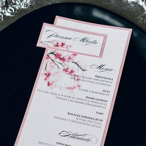 menu weselne różowe